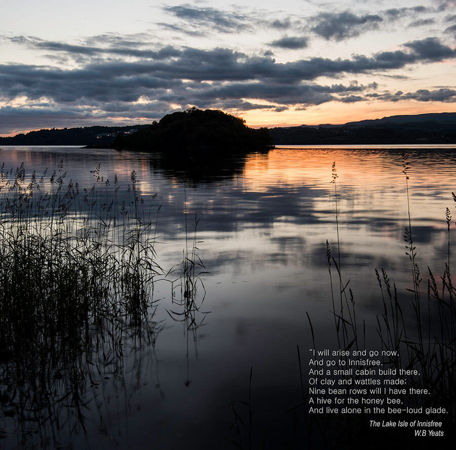 Sunset in Lough Gill, Sligo with 'The Lake Isle of Innisfree' quote by WB Yeats
