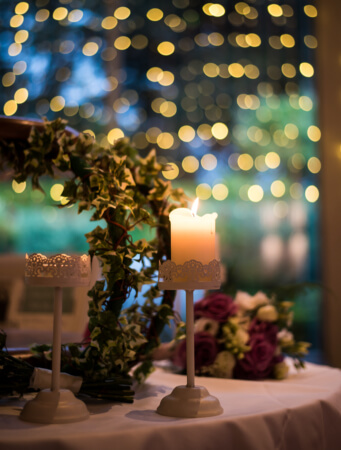 Candle at wedding table